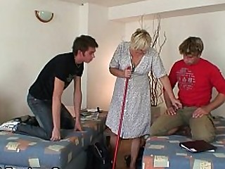 Blonde Granny Hot Mammy Mature Old and Young Teen Threesome